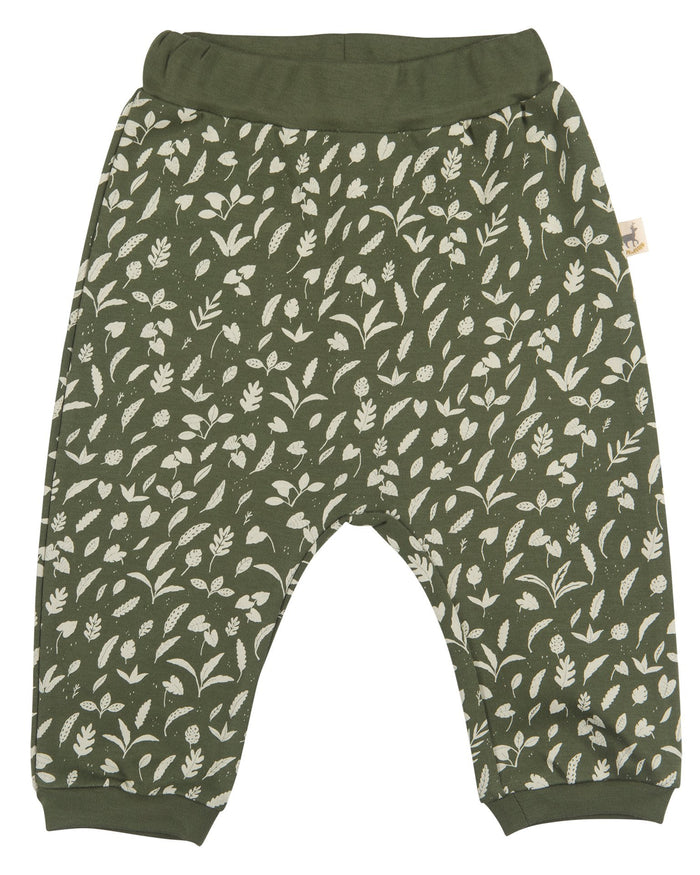 Little red caribou baby girl rainforest foliage baggy pants in chive