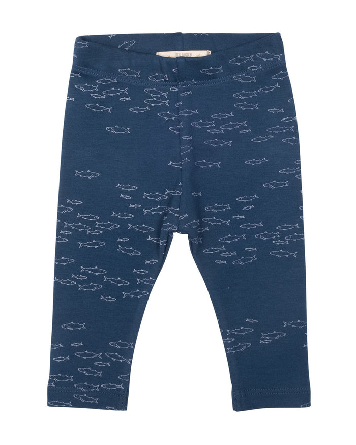 Little red caribou baby girl schooling fish legging in poseidon blue