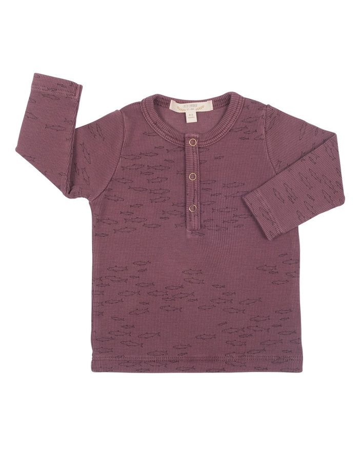 Little red caribou baby girl schooling fish ribbed henley in plum wine