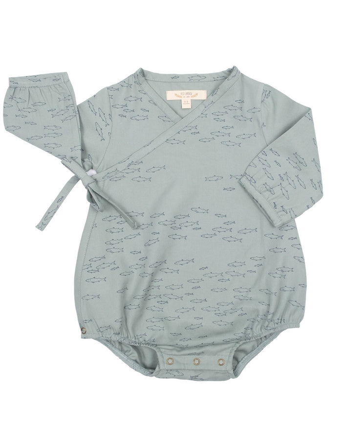 Little red caribou baby girl schooling fish woven onesie in chinoise green