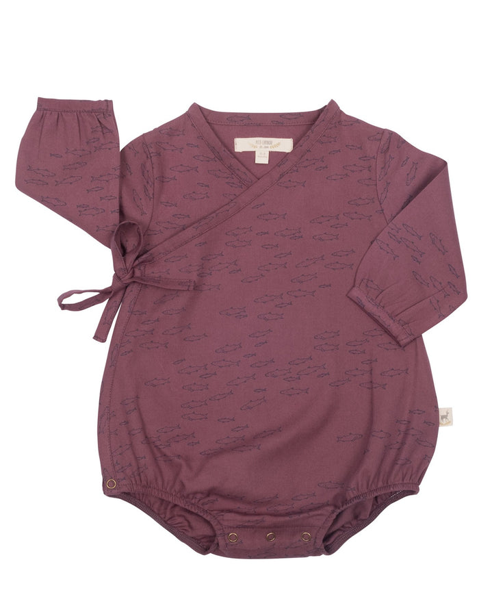 Little red caribou baby girl schooling fish woven onesie in plum wine
