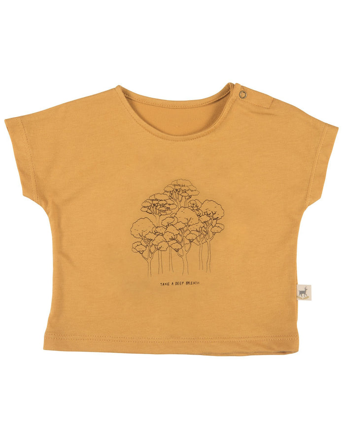 Little red caribou baby girl take a deep breath baby t-shirt in spruce yellow