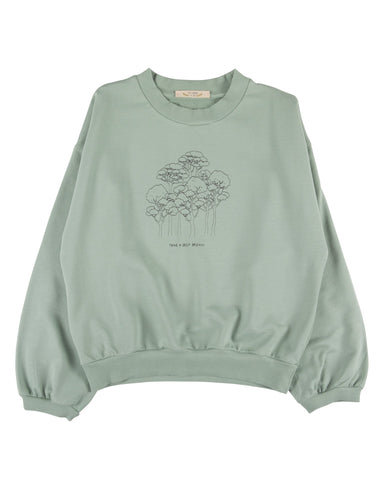 Little red caribou girl take a deep breath sweatshirt in jadeite