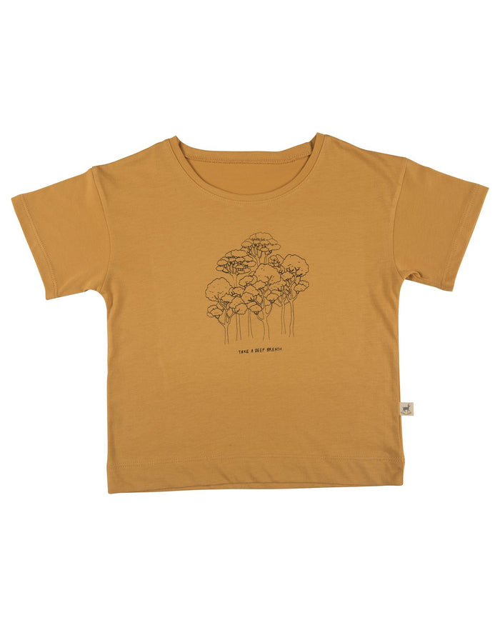Little red caribou girl take a deep breath t-shirt in spruce yellow