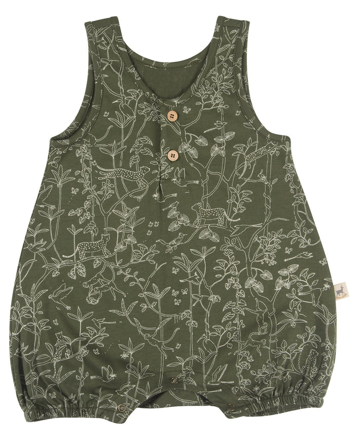 Little red caribou baby girl the canopy baby romper in chive