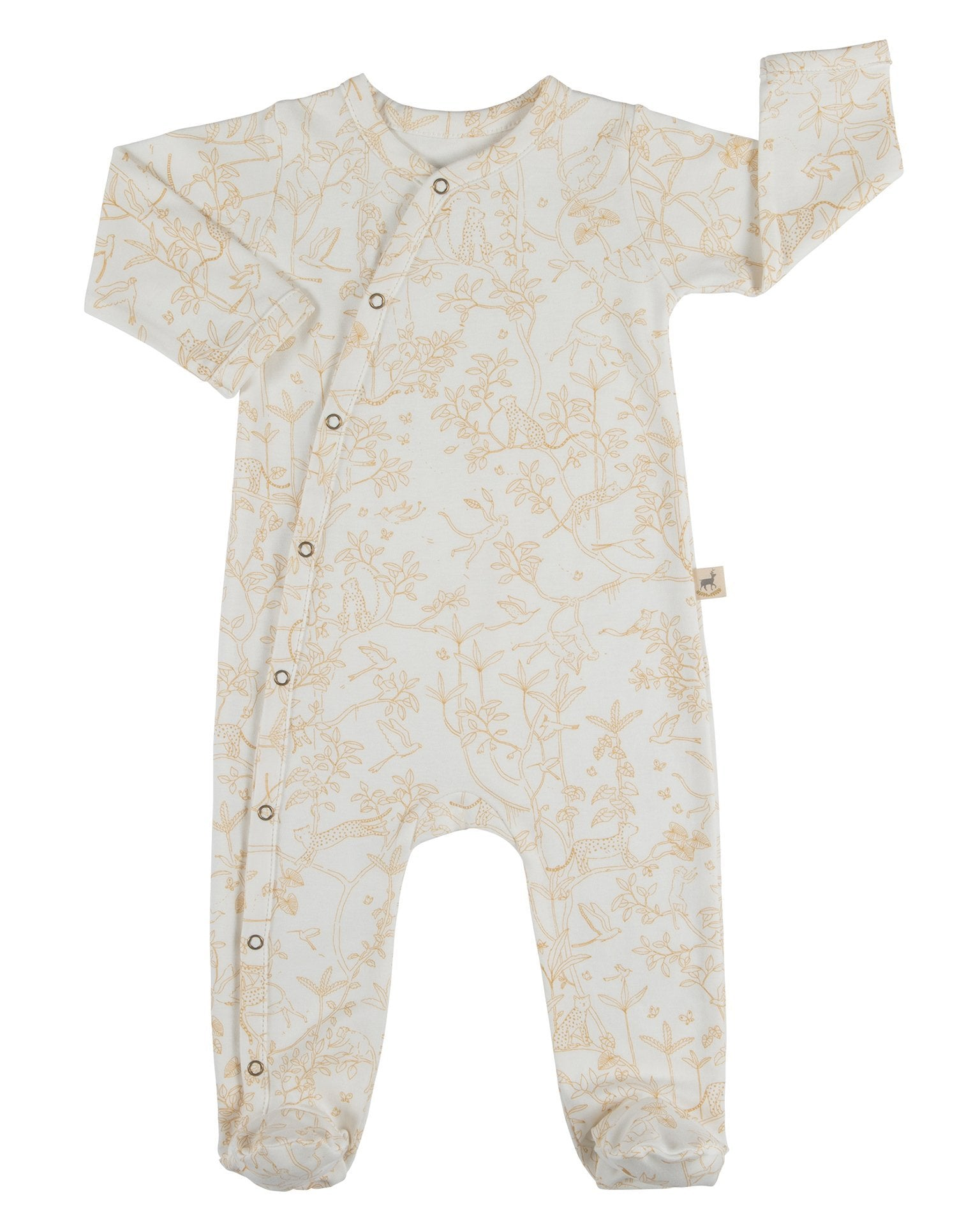 Little red caribou baby girl the canopy long sleeve footed jumpsuit in eco-white