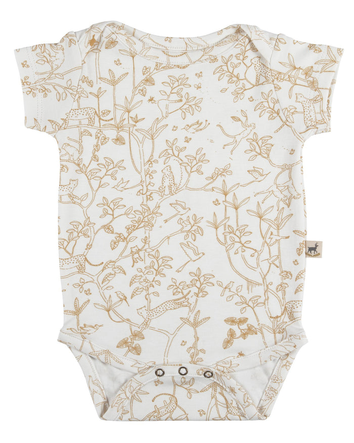 Little red caribou baby girl the canopy short sleeve onesie in eco-white