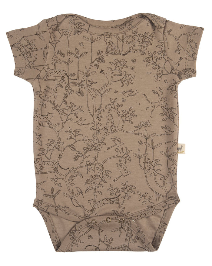 Little red caribou baby girl the canopy short sleeve onesie in taupe