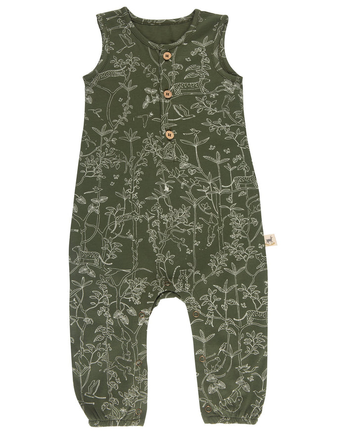 Little red caribou baby girl the canopy tank jumpsuit in chive