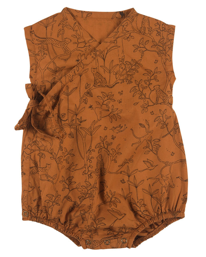 Little red caribou baby girl the canopy woven kimono onesie in glazed ginger