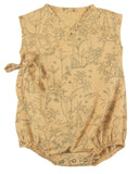 Little red caribou baby girl the canopy woven kimono onesie in ochre