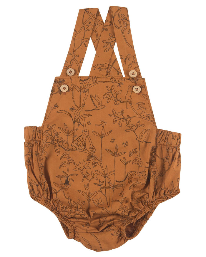 Little red caribou baby girl the canopy woven romper in glazed ginger