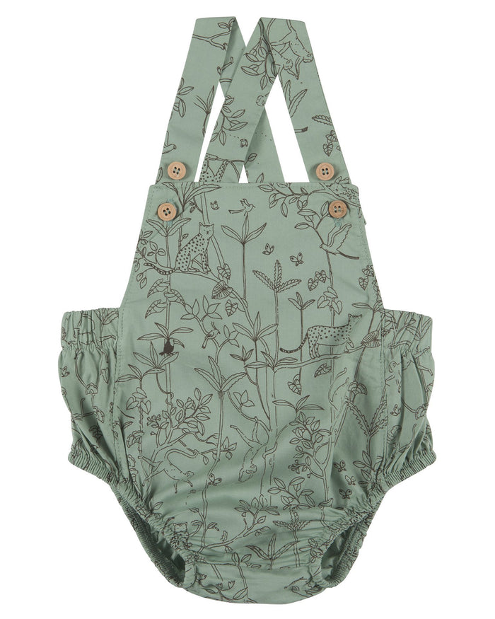 Little red caribou baby girl the canopy woven romper in jadeite