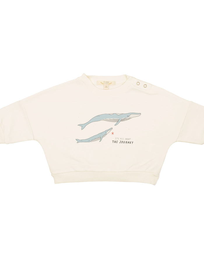 Little red caribou baby girl the journey sweatshirt in ivory