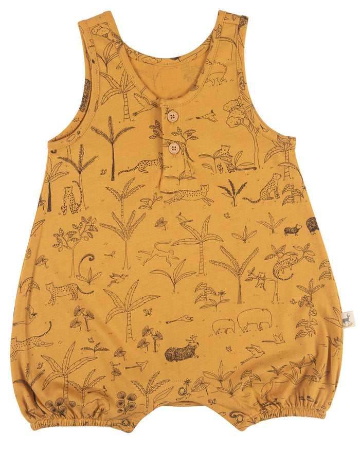 Little red caribou baby girl the story baby romper in spruce yellow