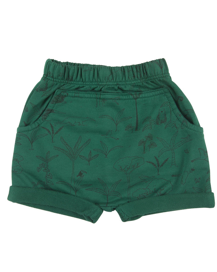 Little red caribou baby girl the story baby shorts in antique green