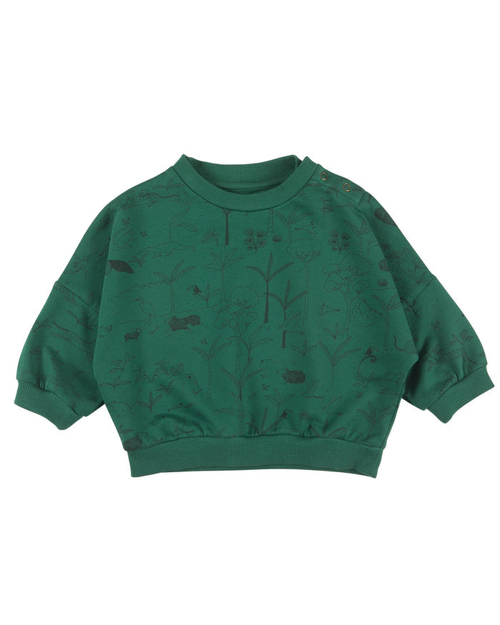 Little red caribou baby girl the story baby sweatshirt in antique green