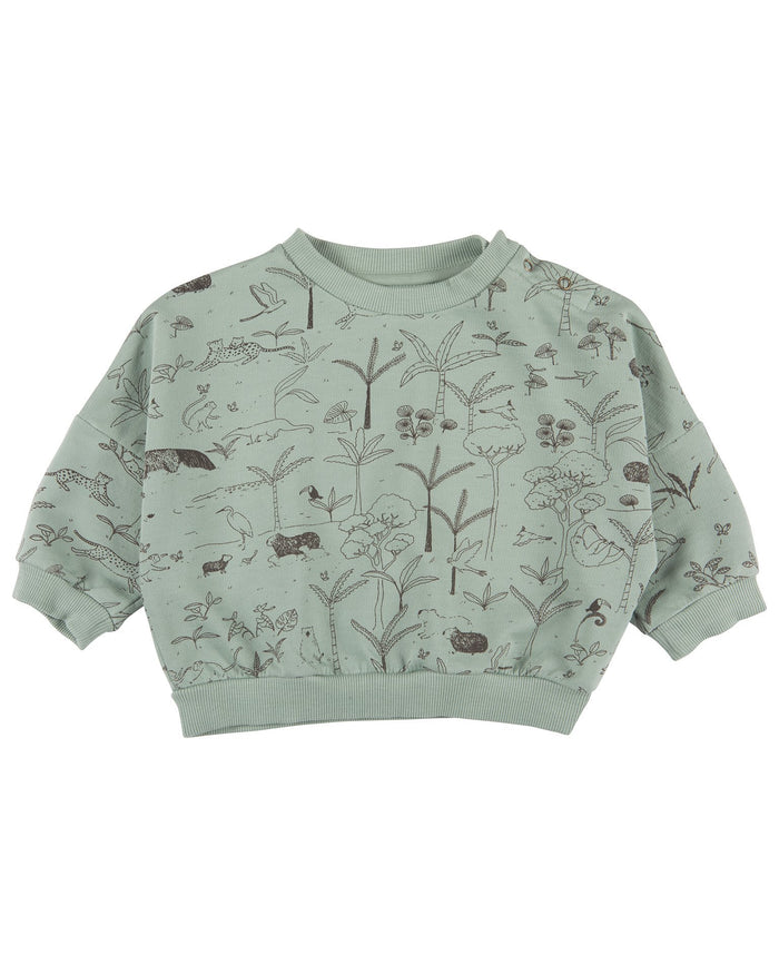 Little red caribou baby girl the story baby sweatshirt in jadeite