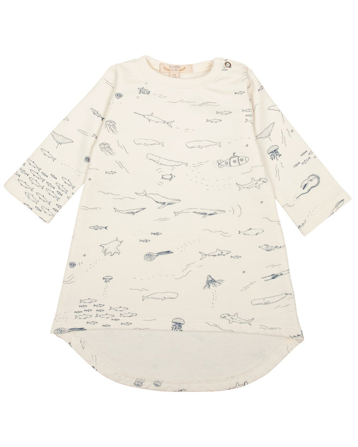 Little red caribou baby girl the story french terry dress in ivory