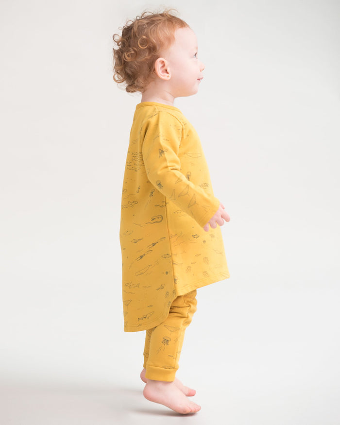 Little red caribou baby girl the story french terry dress in mustard