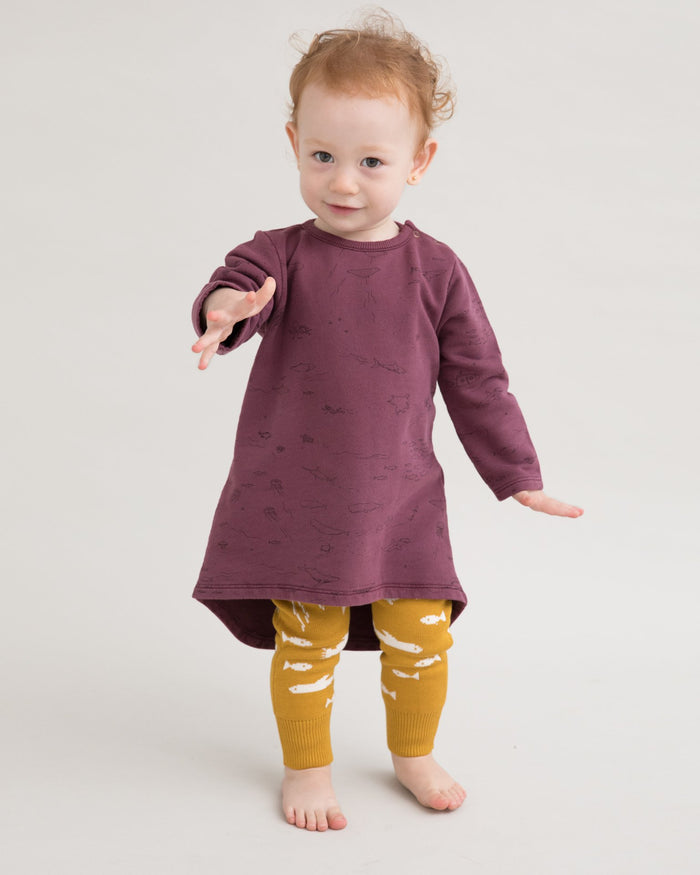 Little red caribou baby girl the story french terry dress in plum wine