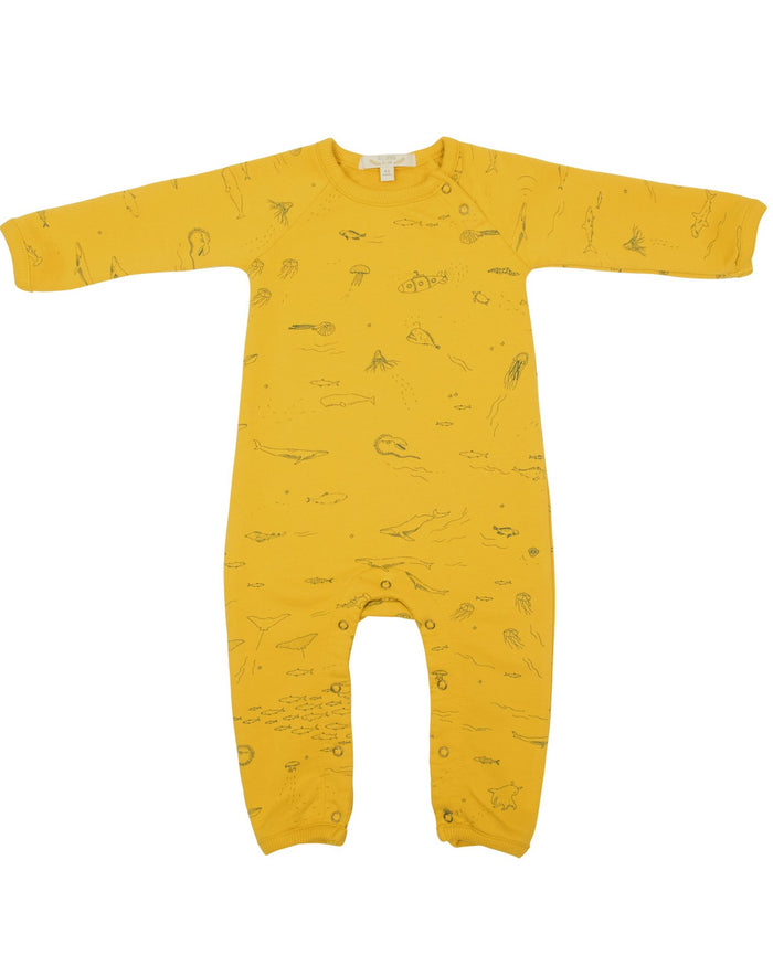 Little red caribou baby girl the story french terry jumpsuit in mustard