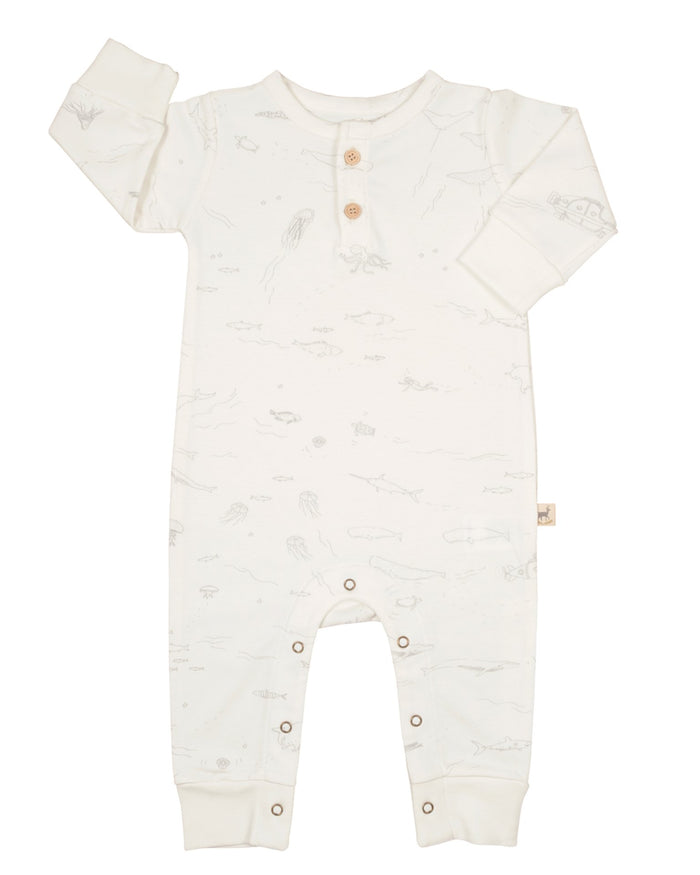 Little red caribou baby girl the story jumpsuit in eco white
