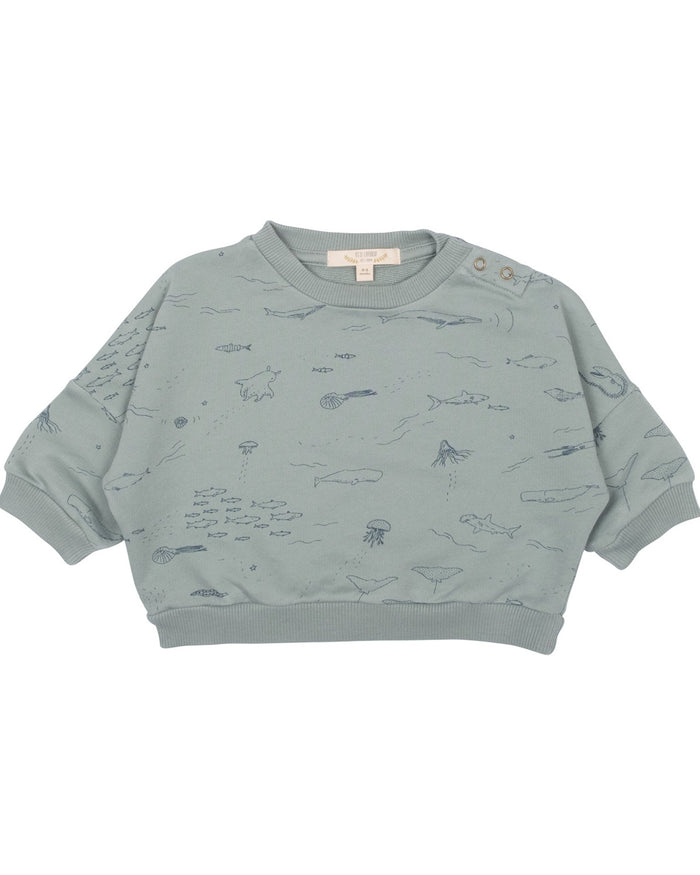 Little red caribou baby girl the story sweatshirt in chinoise green