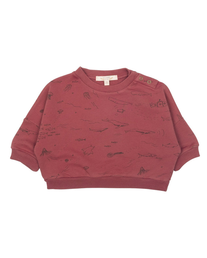 Little red caribou baby girl the story sweatshirt in rosewood