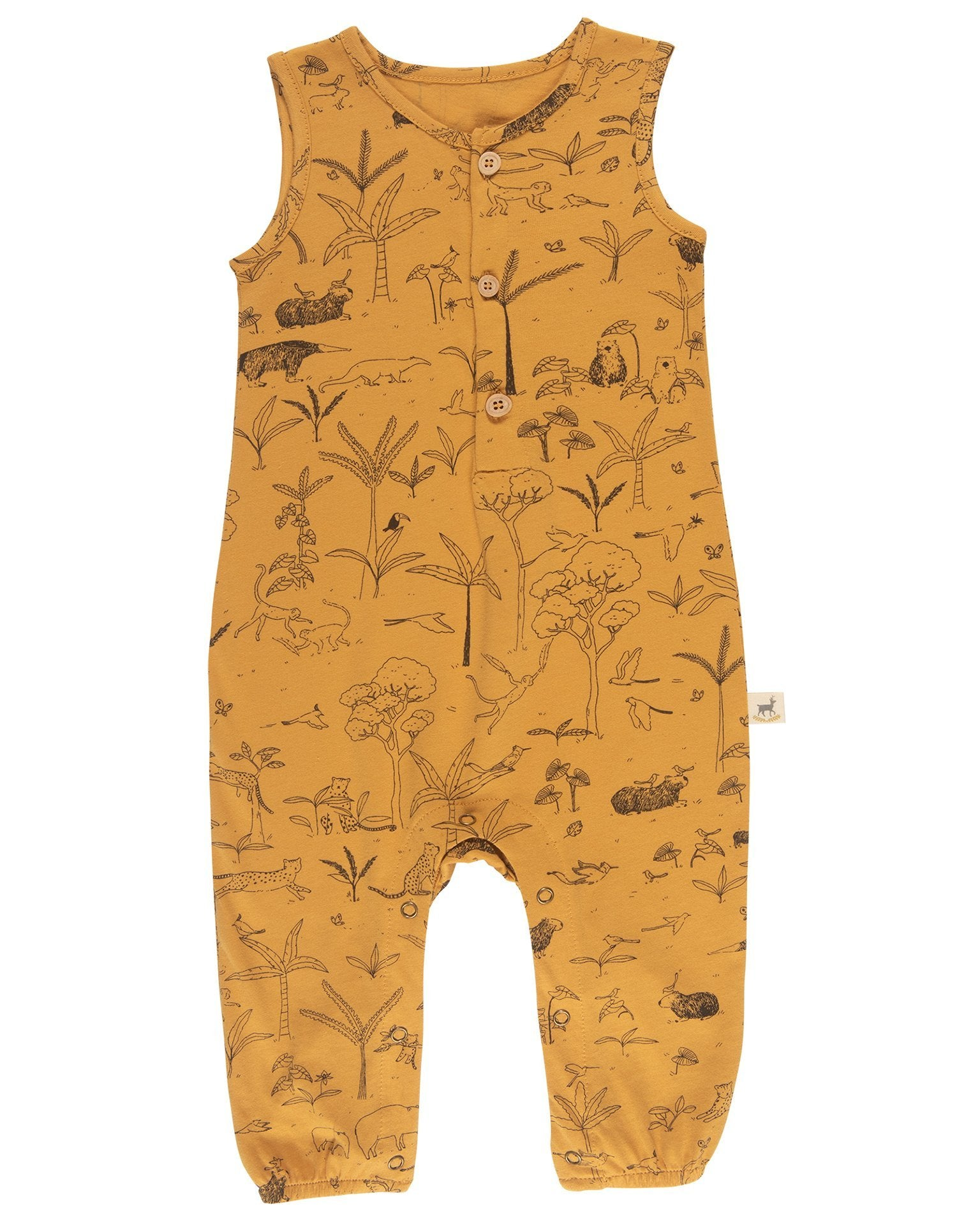 Little red caribou baby girl the story tank jumpsuit in spruce yellow