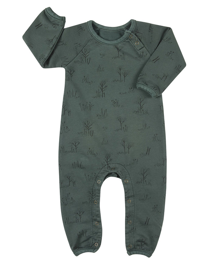 Little red caribou baby girl the tundra french terry jumpsuit in garden topiary