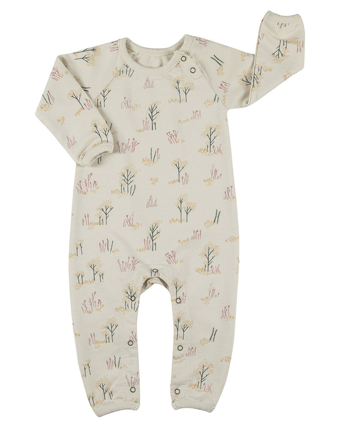 Little red caribou baby girl the tundra french terry jumpsuit in whisper white