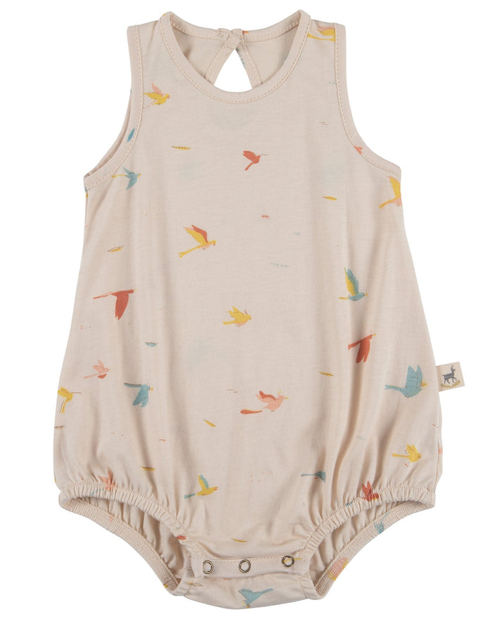 Little red caribou baby girl tropical birds baggy onesie in pink tint