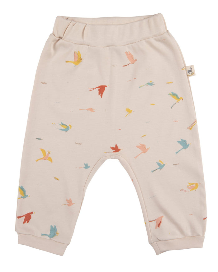 Little red caribou baby girl tropical birds baggy pants in pink tint