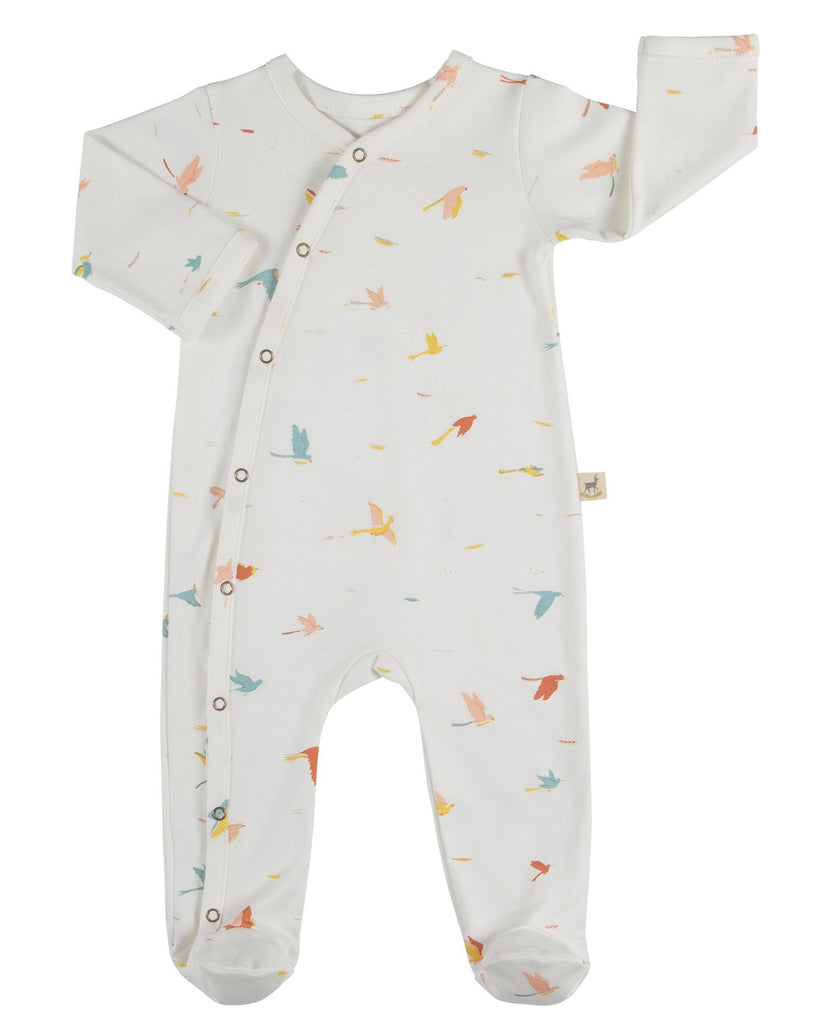 Little red caribou baby girl tropical birds long sleeve footed jumpsuit in eco-white