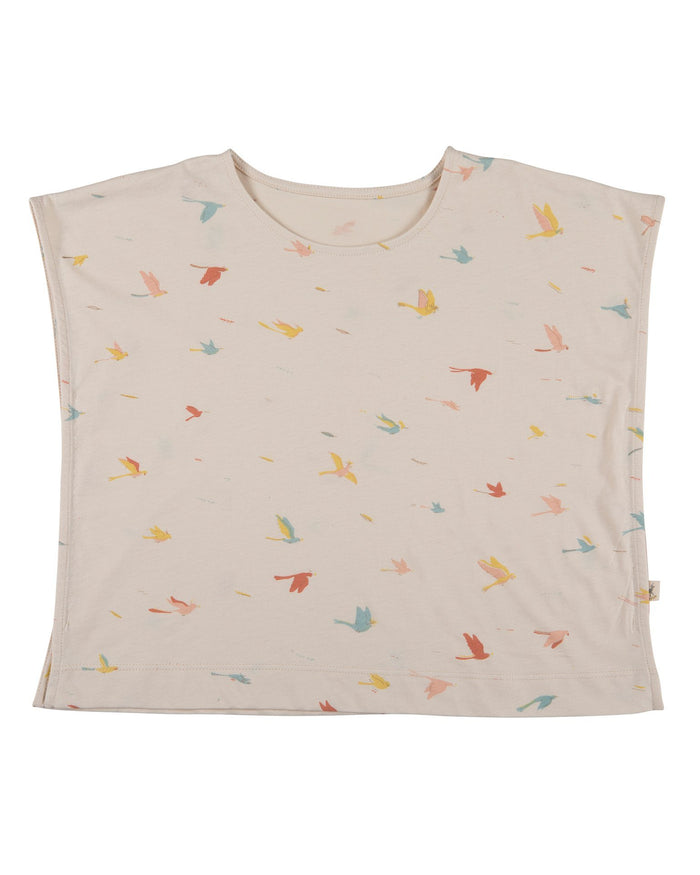 Little red caribou girl tropical birds oversized t-shirt in pink tint