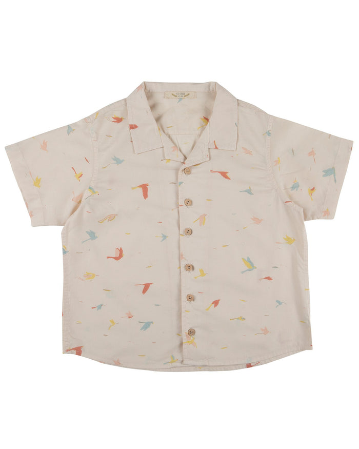 Little red caribou girl tropical birds shirt in pink tint