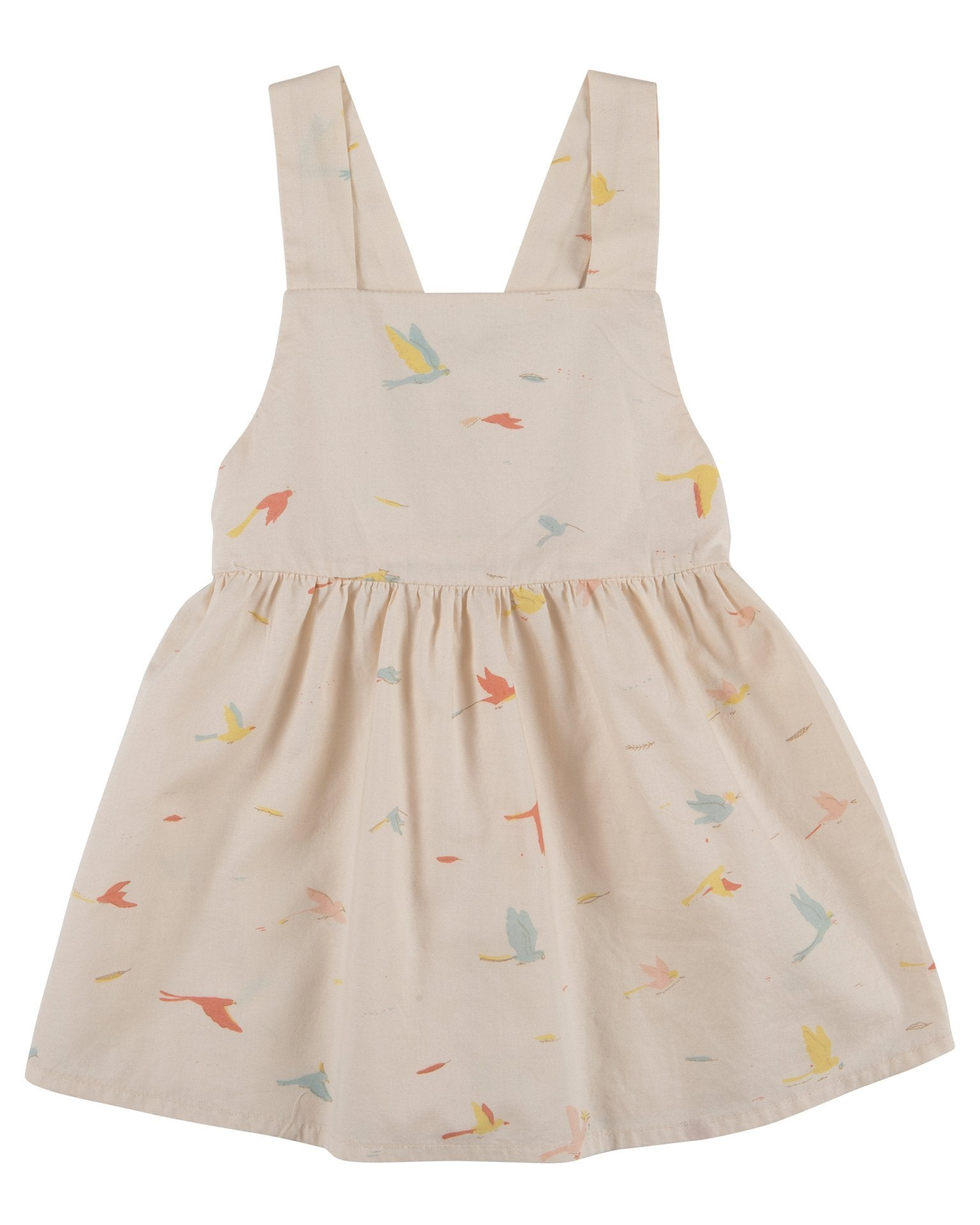 Little red caribou baby girl tropical birds woven dress in pink tint