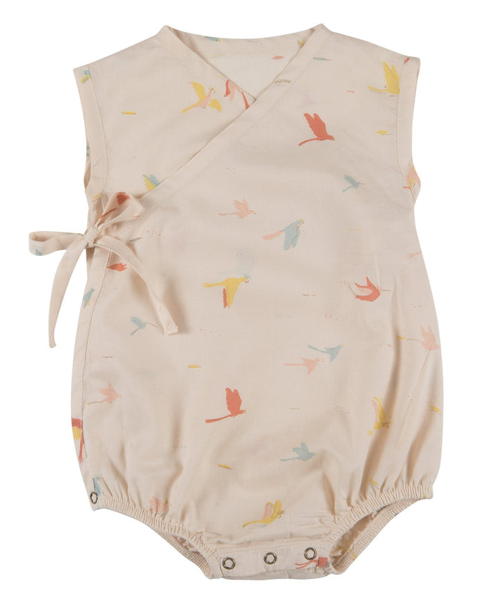 Little red caribou baby girl tropical birds woven kimono onesie in pink tint