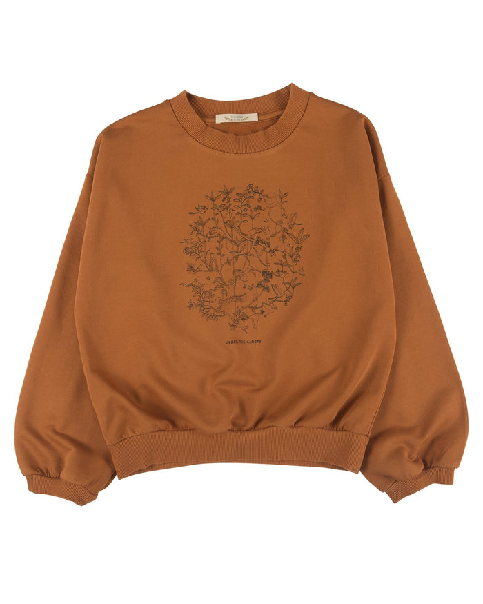 Little red caribou girl under the canopy sweatshirt in glazed ginger