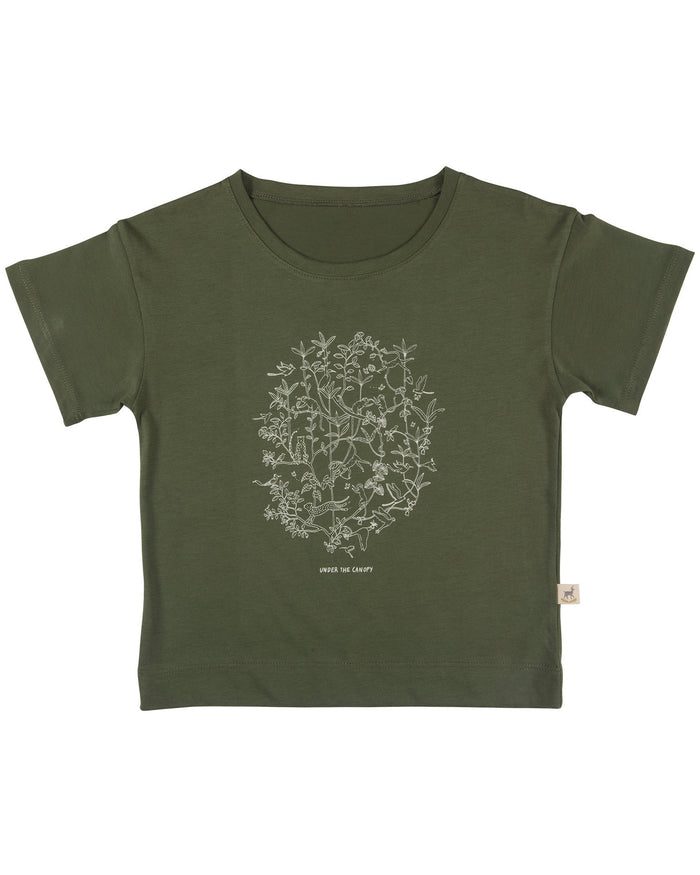 Little red caribou girl under the canopy t-shirt in chive