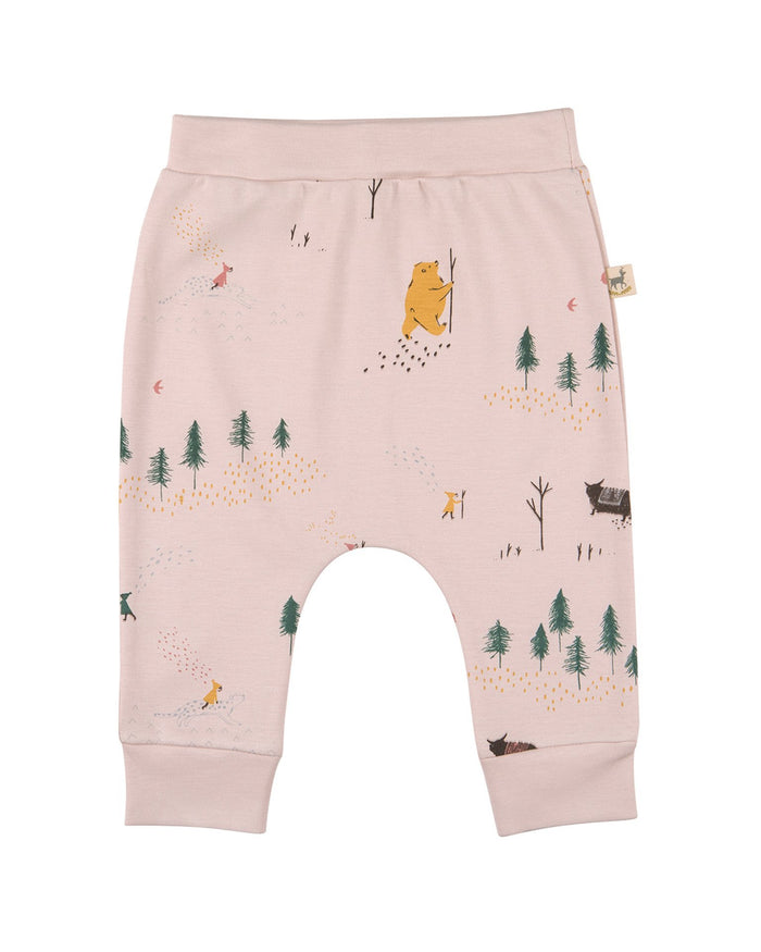Little red caribou layette up the mountain baggy pants in peach whip