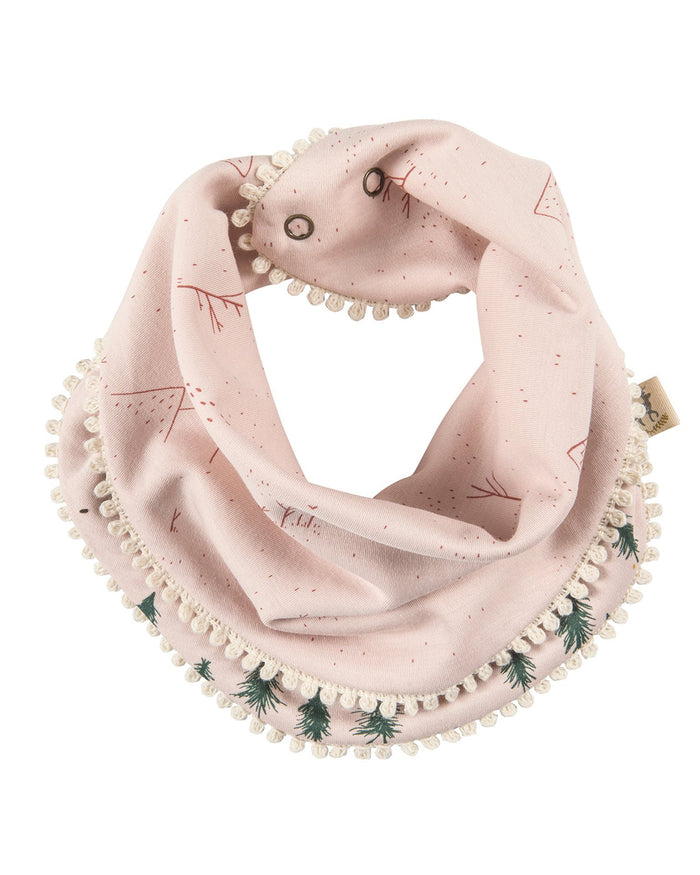 Little red caribou baby accessories up the mountain reversible bandana in peach whip