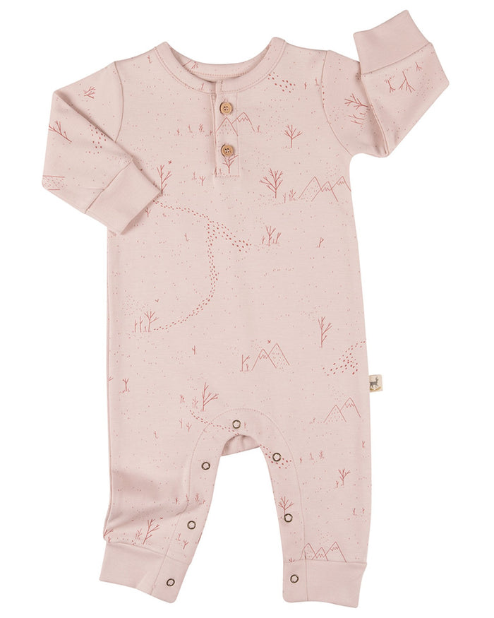 Little red caribou layette yeti tracks basic jumpsuit in peach whip