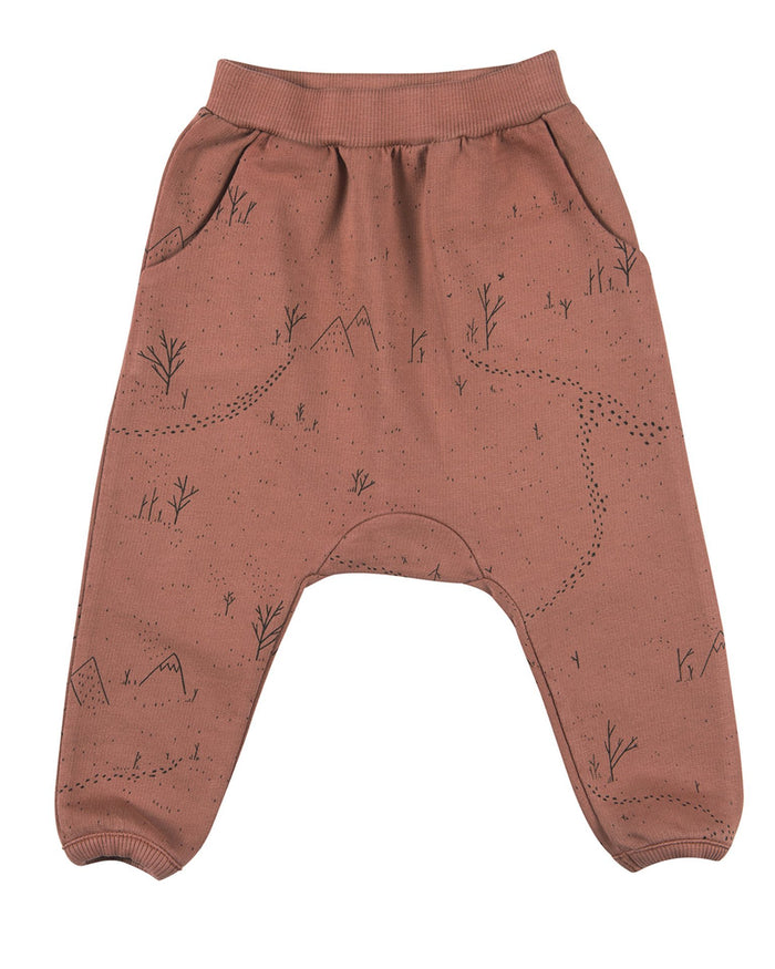 Little red caribou baby boy yeti tracks french terry jogger in light mahogany