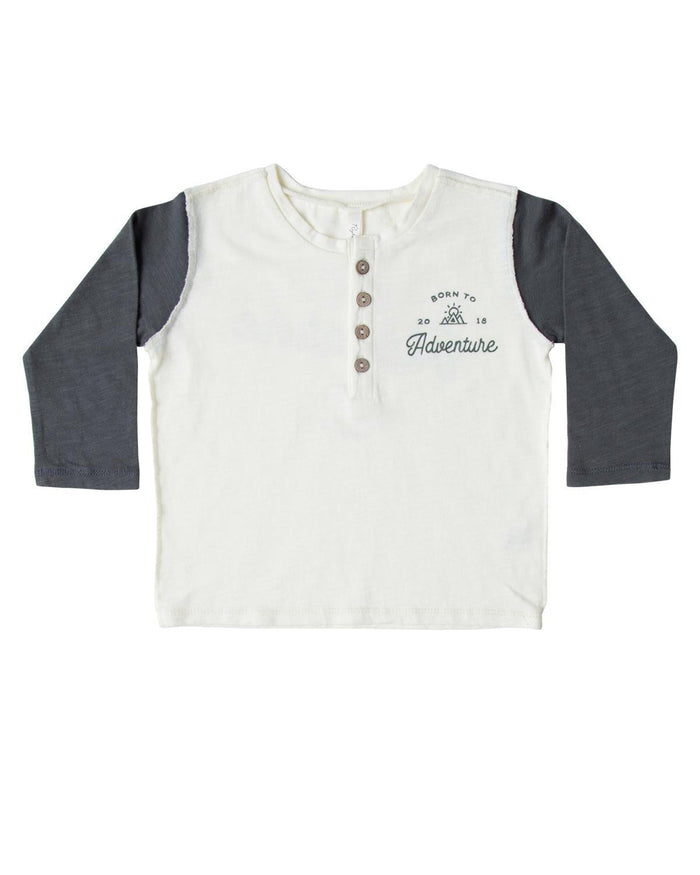 Little rylee + cru boy 12-18 adventure henley long sleeve tee
