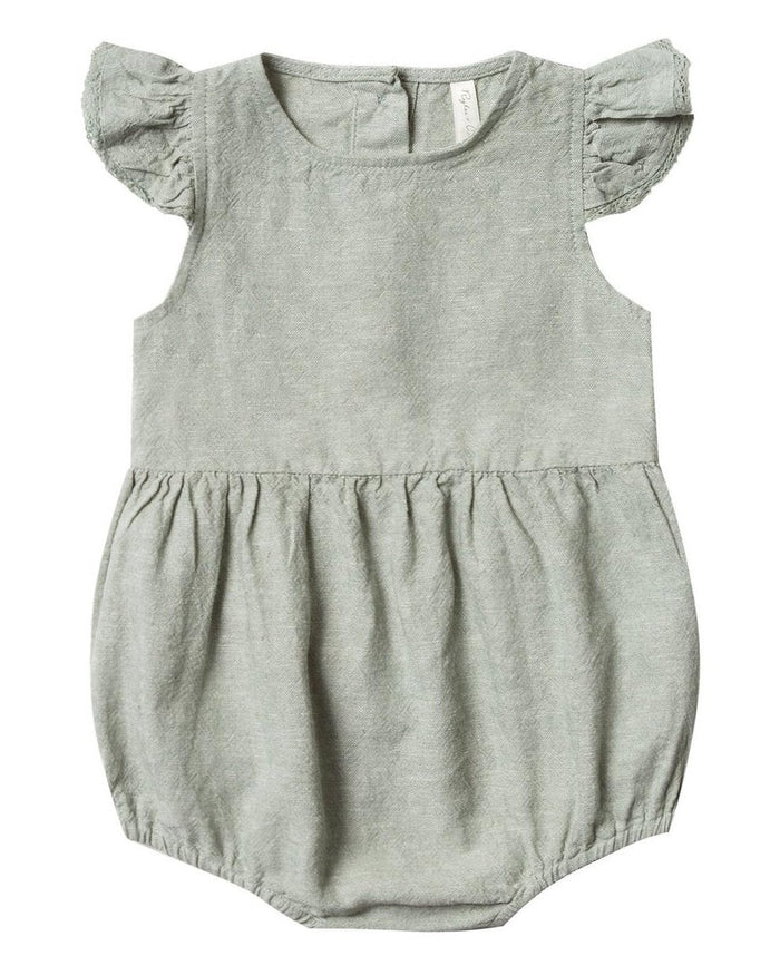 Little rylee + cru baby girl amelia romper in seafoam