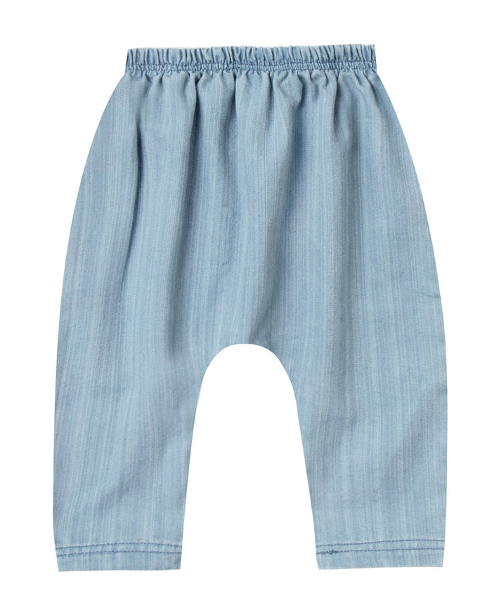 Little rylee + cru baby boy baby baggy harem pant in washed denim