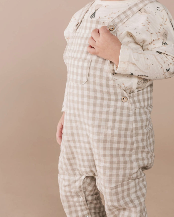 Little rylee + cru baby boy baby gingham overall