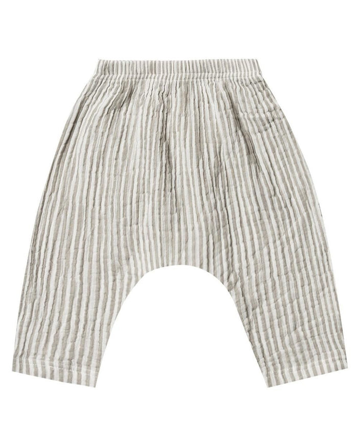Little rylee + cru baby boy baggy harem pant in olive stripe